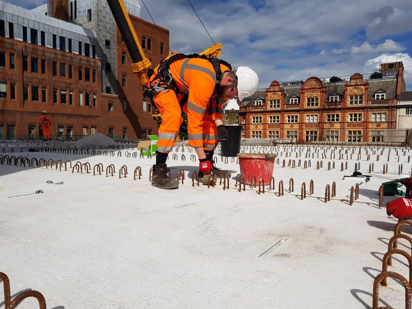 Werknemer in de bouw closeup
